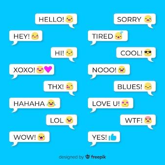 Zestaw balonów mowy z różnymi emoji