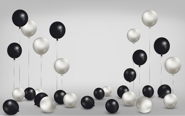 Zestaw balonów na podłodze z pustym miejscem na tekst. świętuj urodziny, plakat, baner, szczęśliwą rocznicę.