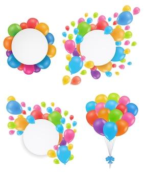 Zestaw balonów. okrągłe białe ramki świąteczne. projekt na urodziny, wesele, zapisz datę. latające balony wielokolorowe. ilustracja wektorowa.
