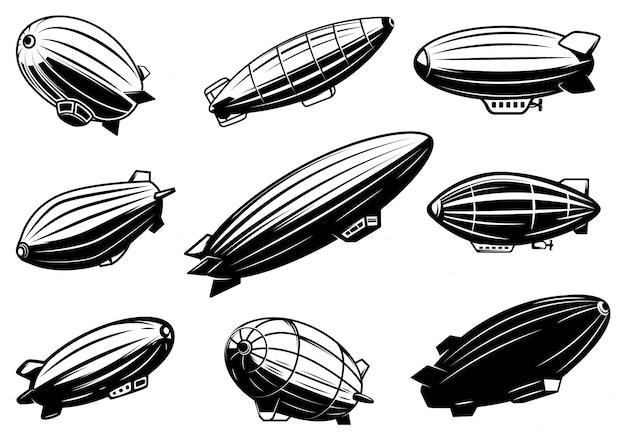 Zestaw balonów powietrznych, zeppelin. element plakatu, karty, godła, znaku, banera. wizerunek
