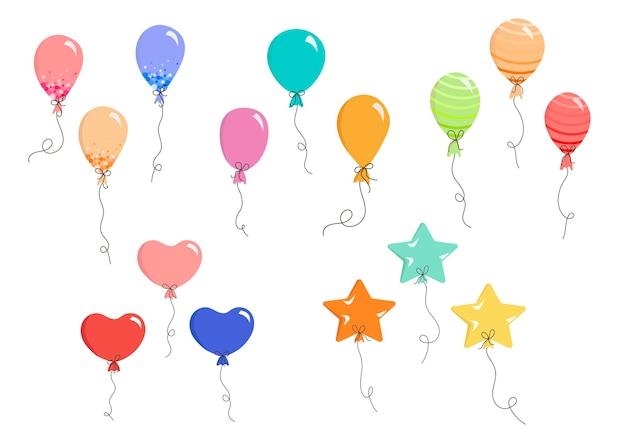 Zestaw balonów wektorowych w płaskich kolorowych balonach na pocztówki z zaproszeniami