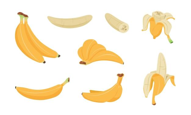 Zestaw bananów. kolekcja logo kreskówka skórki żółtego banana, pojedyncze i obrane owoce tropikalne, płaskie proste clip art przekąski bananowej
