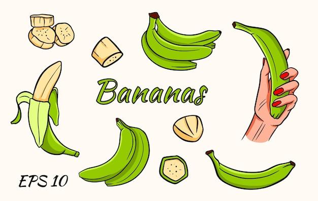 Zestaw bananów na białym tle