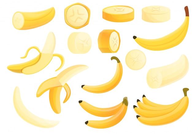 Zestaw bananów, styl kreskówki