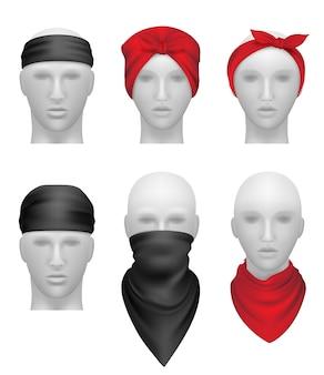 Zestaw bandan. stylowe ubrania dla motocyklistów i gangsterów głowa manekina realistyczna. ilustracja stylowa odzież dla rowerzysty lub kowboja