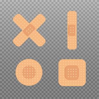 Zestaw bandaży medycznych o różnych kształtach. taśma gipsowa pierwszej pomocy. ikona medycznych poprawek płaska konstrukcja. ilustracja.