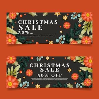 Zestaw banerów akwarela sprzedaż świąteczna