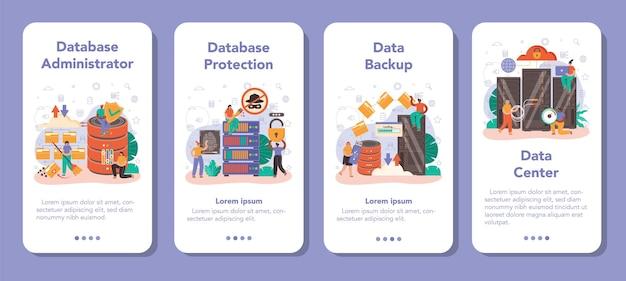 Zestaw banerów aplikacji mobilnej administratora bazy danych. menedżer pracujący w centrum danych. ochrona danych, tworzenie kopii zapasowych i przywracanie. nowoczesna technika komputerowa, zawód informatyka. płaska ilustracja wektorowa