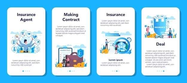 Zestaw banerów aplikacji mobilnej agenta ubezpieczeniowego