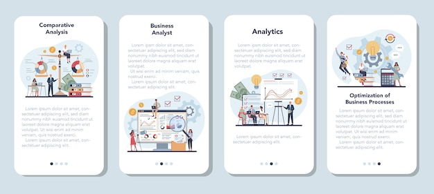 Zestaw banerów aplikacji mobilnej analityka biznesowego