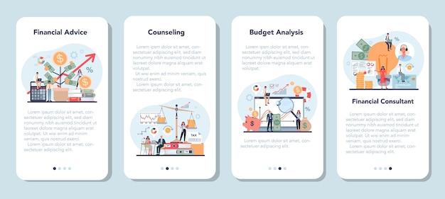 Zestaw banerów aplikacji mobilnej analityka finansowego lub konsultanta.