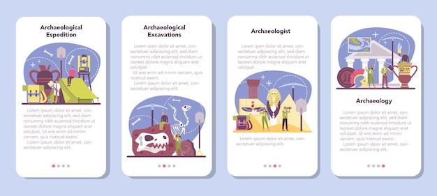 Zestaw banerów aplikacji mobilnej archeologa