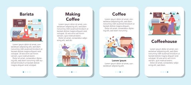Zestaw banerów aplikacji mobilnej barista barman przygotowujący filiżankę gorącej kawy