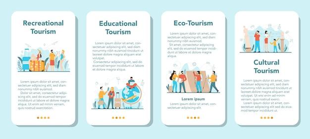 Zestaw banerów aplikacji mobilnej biura podróży. pracownik biurowy sprzedający bilety na wycieczki, rejsy, bilety lotnicze lub kolejowe. agencja organizująca wakacje, rezerwacja hoteli.