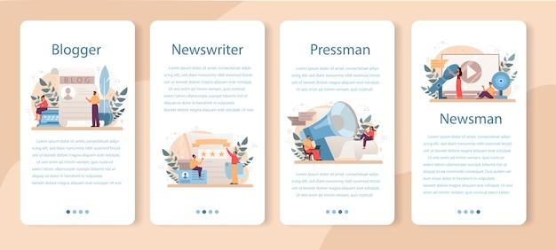 Zestaw banerów aplikacji mobilnej bloggera