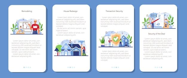 Zestaw banerów aplikacji mobilnej branży nieruchomości do przebudowy domu
