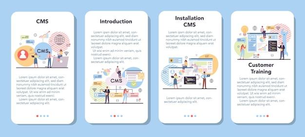 Zestaw banerów aplikacji mobilnej cms