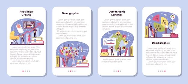 Zestaw banerów aplikacji mobilnej demografa