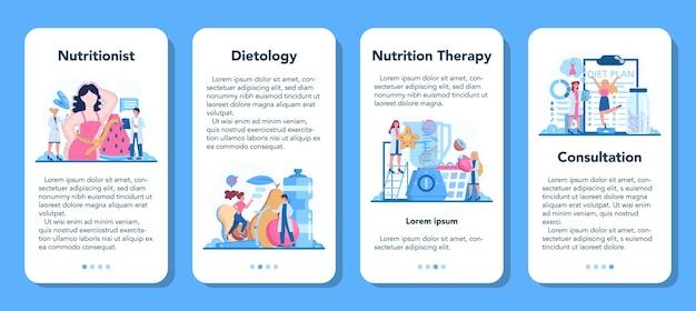 Zestaw banerów aplikacji mobilnej dietetyka