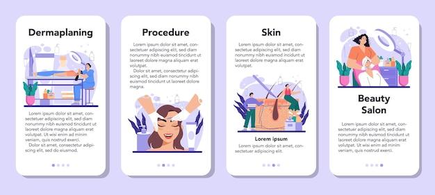 Zestaw banerów aplikacji mobilnej do dermaplaningu w salonie