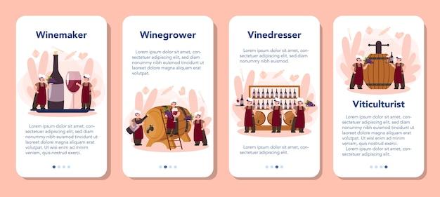 Zestaw banerów aplikacji mobilnej do produkcji wina