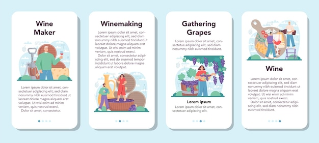 Zestaw banerów aplikacji mobilnej do wina z winogron w drewnianej beczce