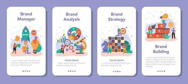 Zestaw banerów aplikacji mobilnej do zarządzania marką. menedżer opracowujący unikalny design firmy. rozpoznawalność marki jako strategia marketingowa i technologia promocji. ilustracja na białym tle płaski