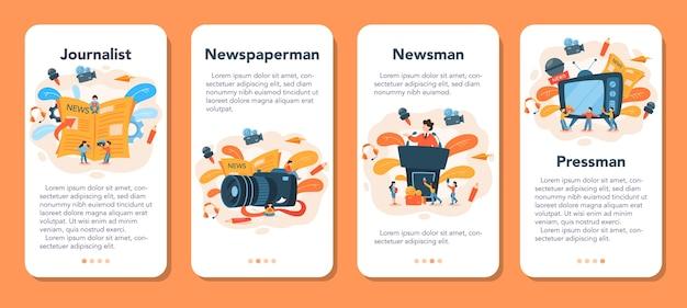 Zestaw banerów aplikacji mobilnej dziennikarza