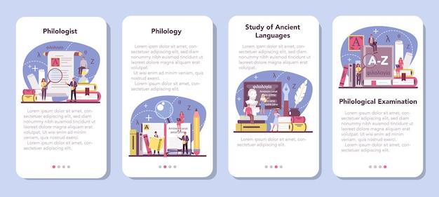 Zestaw banerów aplikacji mobilnej filolog. profesjonalny naukowiec badający strukturę językową.
