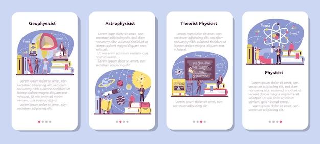 Zestaw banerów aplikacji mobilnej fizyka