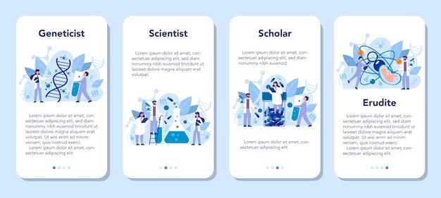 Zestaw banerów aplikacji mobilnej genetyka. medycyna i technika naukowa. naukowiec zajmuje się strukturą cząsteczki. wynalazek i innowacja. ilustracja wektorowa w stylu cartoon