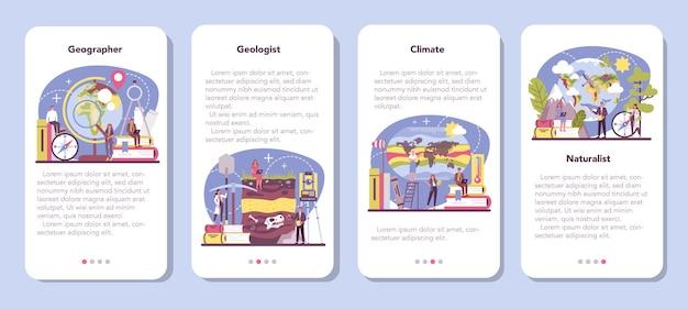 Zestaw banerów aplikacji mobilnej geograf