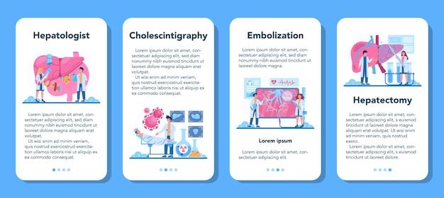 Zestaw banerów aplikacji mobilnej hepatologa