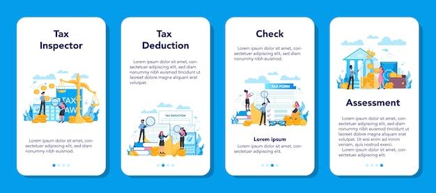 Zestaw banerów aplikacji mobilnej inspektora podatkowego