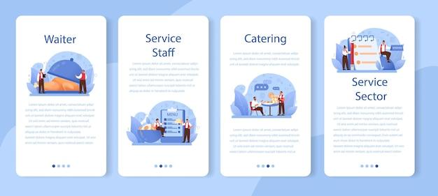 Zestaw banerów aplikacji mobilnej kelnera.