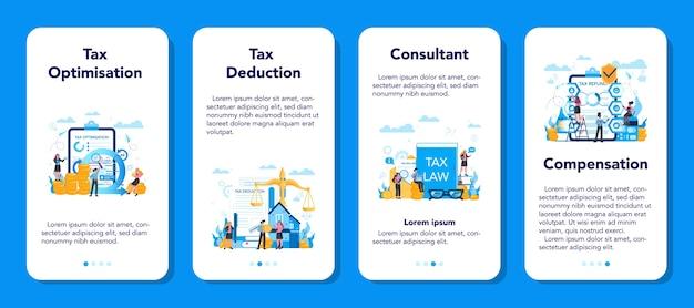 Zestaw banerów aplikacji mobilnej koncepcja doradcy podatkowego. idea księgowości i płatności. rachunek finansowy. optymalizacja podatkowa, odliczenia i zwroty.