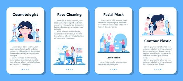 Zestaw banerów aplikacji mobilnej kosmetolog koncepcja