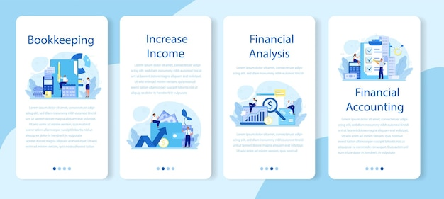 Zestaw banerów aplikacji mobilnej księgowego. profesjonalny kierownik biura księgowego. obliczanie podatków i analiza finansowa. charakter biznesowy dokonujący operacji finansowych.