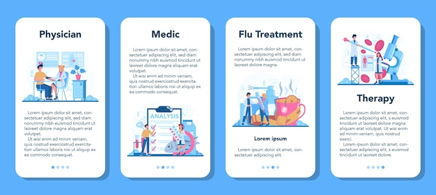 Zestaw banerów aplikacji mobilnej lekarza lub lekarza medycyny ogólnej