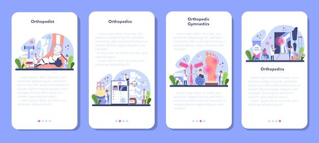 Zestaw banerów aplikacji mobilnej lekarza ortopedii.