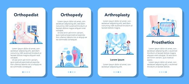 Zestaw banerów aplikacji mobilnej lekarza ortopedii
