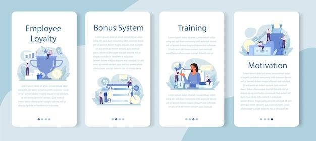 Zestaw banerów aplikacji mobilnej lojalności pracowników. zarządzanie personelem, program rozwoju i adaptacji empolyee. motywacja i wynagrodzenie kadr.