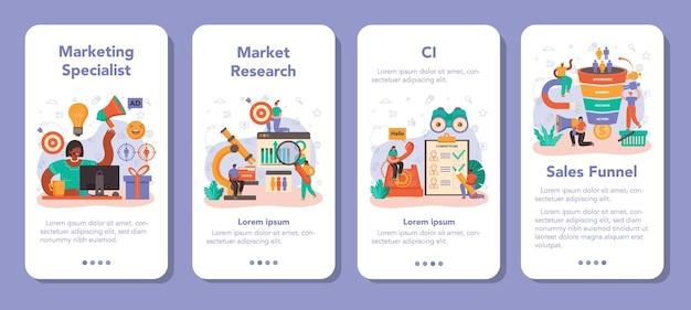 Zestaw banerów aplikacji mobilnej marketer. reklama i promocja marki lub produktu. specjalista opracowujący strategię marketingową i komunikację z klientem. płaska ilustracja wektorowa