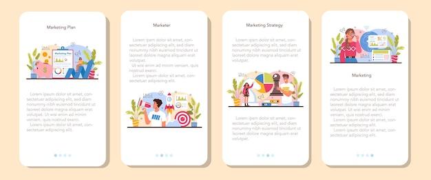 Zestaw banerów aplikacji mobilnej marketer. strategia marketingowa i komunikacja z klientem przez media społecznościowe. promocja firmy, strategia cenowa, analiza trendów rynkowych. płaska ilustracja wektorowa