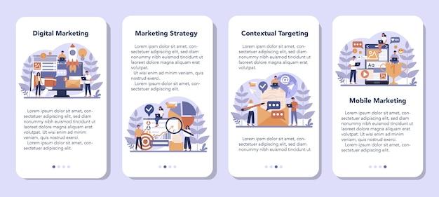 Zestaw banerów aplikacji mobilnej marketingu cyfrowego