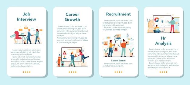 Zestaw banerów aplikacji mobilnej menedżera zasobów ludzkich. idea rekrutacji i zarządzania pracą. zarządzanie pracą zespołową. zawód menadżera hr.