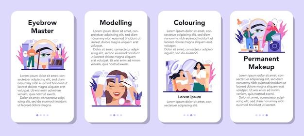 Zestaw banerów aplikacji mobilnej mistrza brwi. mistrz tworzenia doskonałych brwi