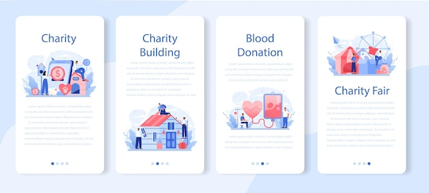 Zestaw banerów aplikacji mobilnej na cele charytatywne