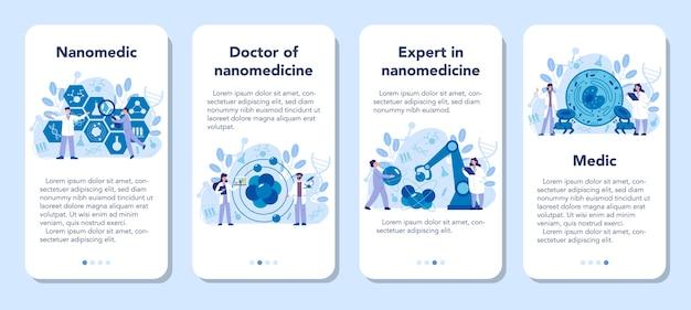 Zestaw banerów aplikacji mobilnej nanomedic. naukowcy pracują w laboratorium nad nanotechnologią. nanomedycyna leczy i zapobiega leczeniu chorób. ilustracji wektorowych.