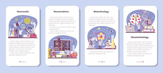 Zestaw banerów aplikacji mobilnej nanomedic